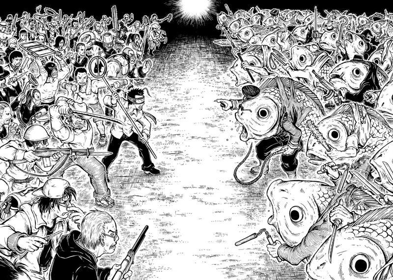 李隆杰有「怕魚恐懼症」,藉由漫畫宣揚魚類的恐怖。圖為《怕魚的男人》人類對抗半魚人的經典一幕。