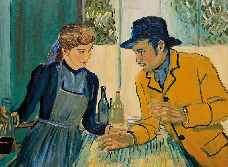 電影以油畫及素描交錯呈現,且畫風認真地靠近梵谷風格,從形式到內容都在向梵谷致敬。(絕色國際提供)
