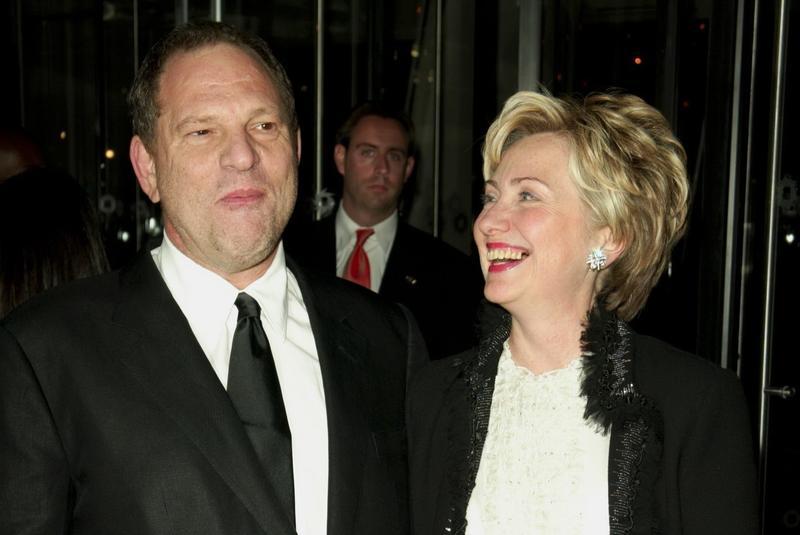哈維韋恩斯坦(左)是民主黨的長期金主,希拉蕊柯林頓(右)競選總統時更有他大力贊助,在哈維出事後,希拉蕊沉默數日後發聲明譴責。(東方IC)