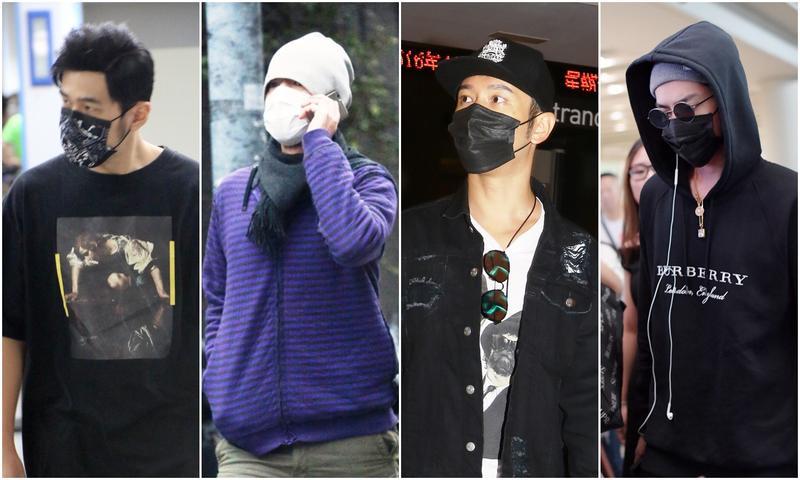 明星私下都喜歡戴口罩,有的人裝扮起來認不出來,但有的人卻仍然顯眼。(左起:周杰倫、金城武、黃曉明和吳亦凡)