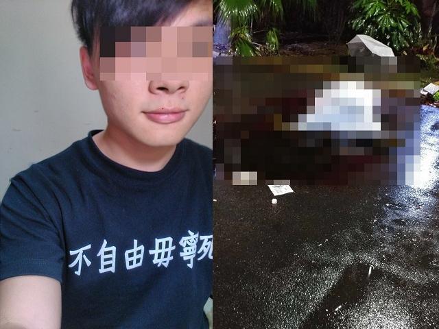 行凶的張姓男學生自盡身亡,被蓋上白布。(翻攝張男臉書)