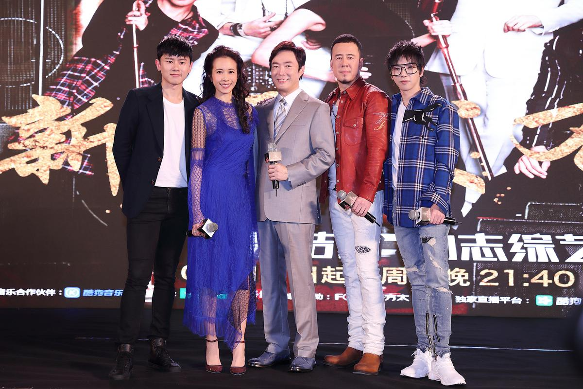 華晨宇(右起)、楊坤、費玉清、莫文蔚及張杰是參與《天籟之戰》第二季的唱將。(索尼音樂提供)
