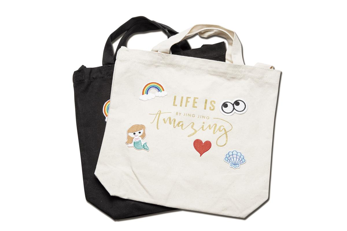 Amazing by Jing Jing購物袋(不含貼布)。各NT$580。