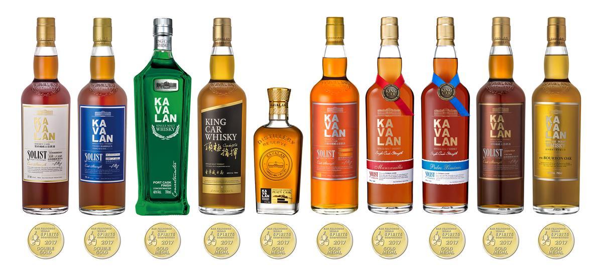 噶瑪蘭威士忌在2017舊金山世界烈酒競賽大有斬獲,奪2面雙金牌獎以及8面金牌。