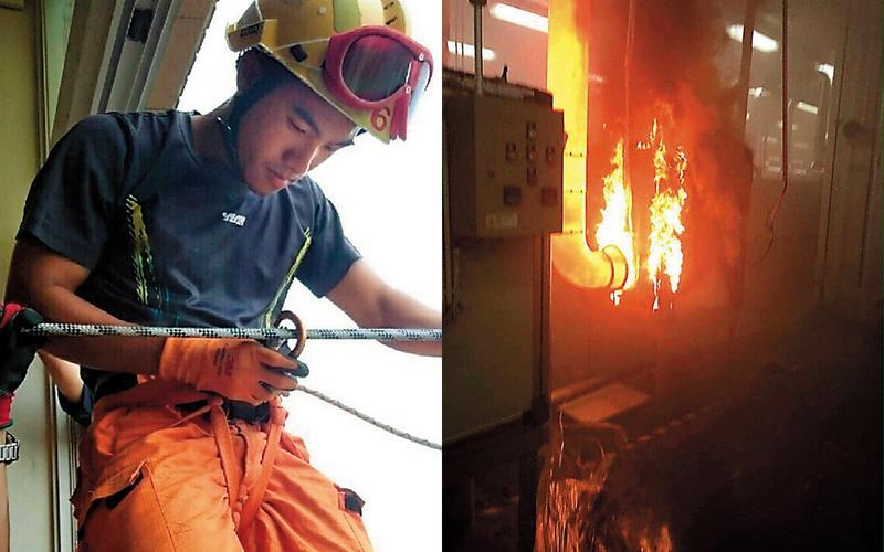 昇陽光電廠日前發生火警,大火燒毀廠房設備外,也燒死1位年輕消防員。(翻攝畫面)