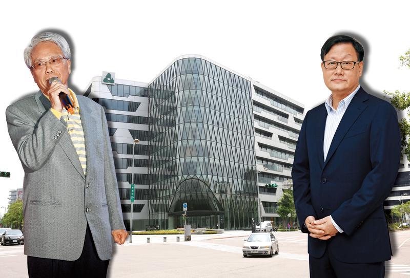 身為北台灣第二大建商的張高祥(右),透露自己年輕時曾幫林陳海(左)賣過房子,算是他的徒弟。