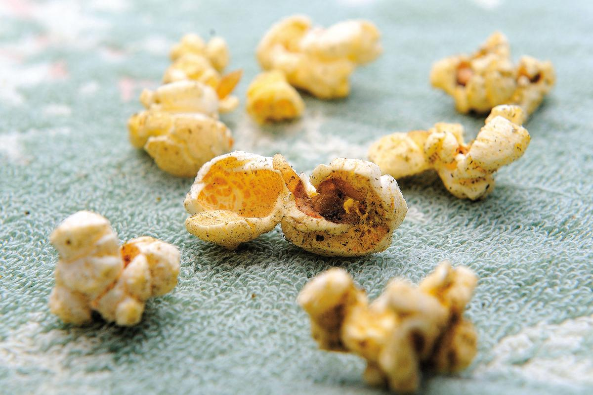 市售爆米花以蝴蝶型玉米粒為主,口感較軟。