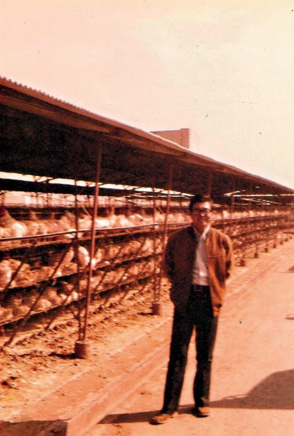 年輕時的王榮得在養雞場留影,目前養雞場已經處理轉手,福記的蛋改向其他廠商購買。(福記提供)