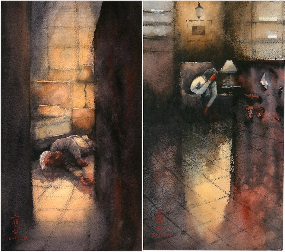 導演王明台特別手繪兩幅水彩畫製成小卡,送給來觀影的來賓。(穀得提供)