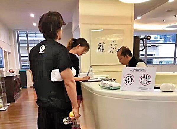 「言承旭全球家族」微博,出現言承旭跟林志玲一同現身馬來西亞飯店健身房的照片。(翻攝自言承旭全球家族微博)