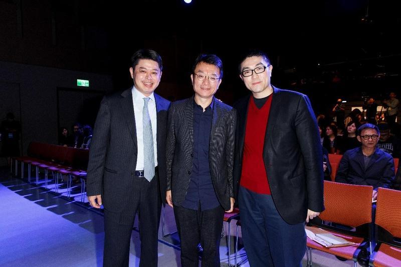 邱文友(左起)與聞天祥是高中同學,兩人笑言要找買下《我的少女時代》IP開發的華聯董事長謝國樑(右),改拍成《我的少男時代》。