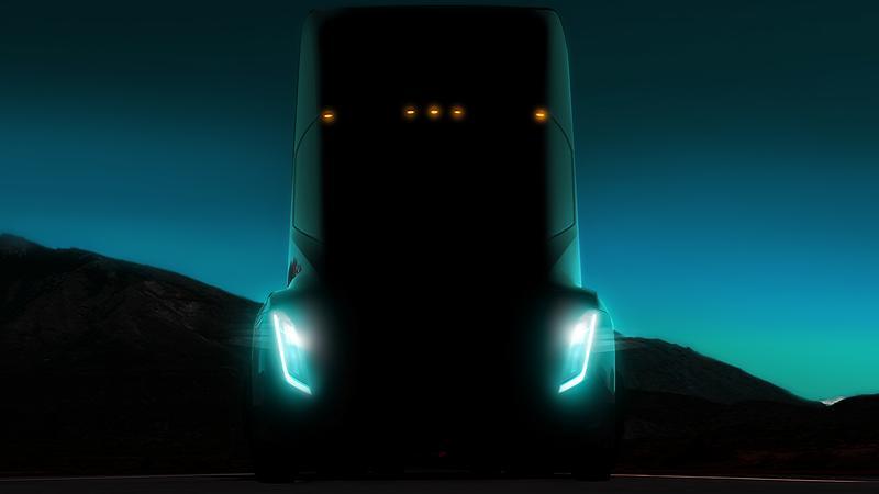 特斯拉電動貨櫃車Semi將從2019年開始量產。(東方IC)