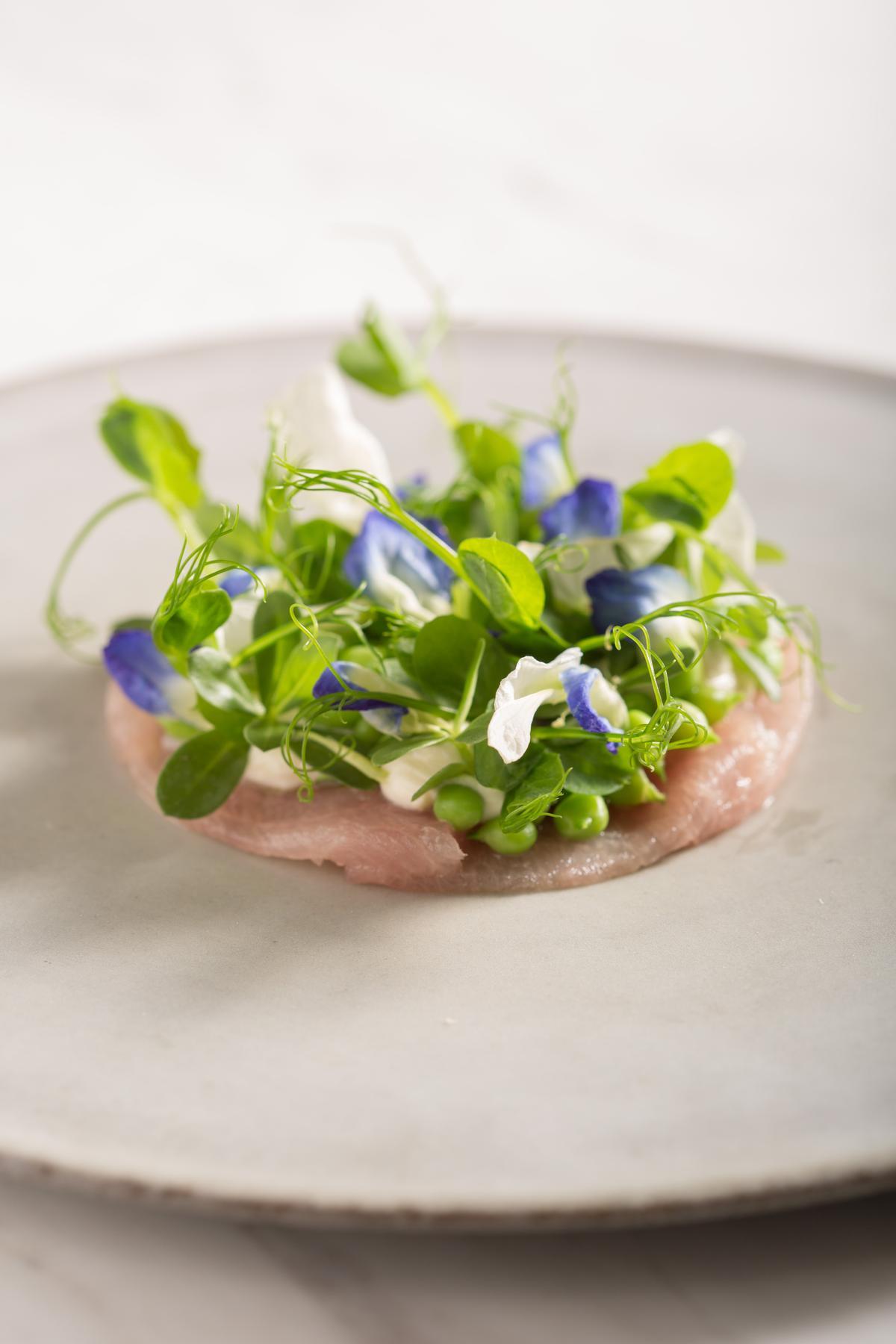 「白旗魚豆苗花煙燻起司」加入富有甜豆味的花朵,把白肉魚的油脂轉為輕盈。(2880元套餐菜色,不一定提供)