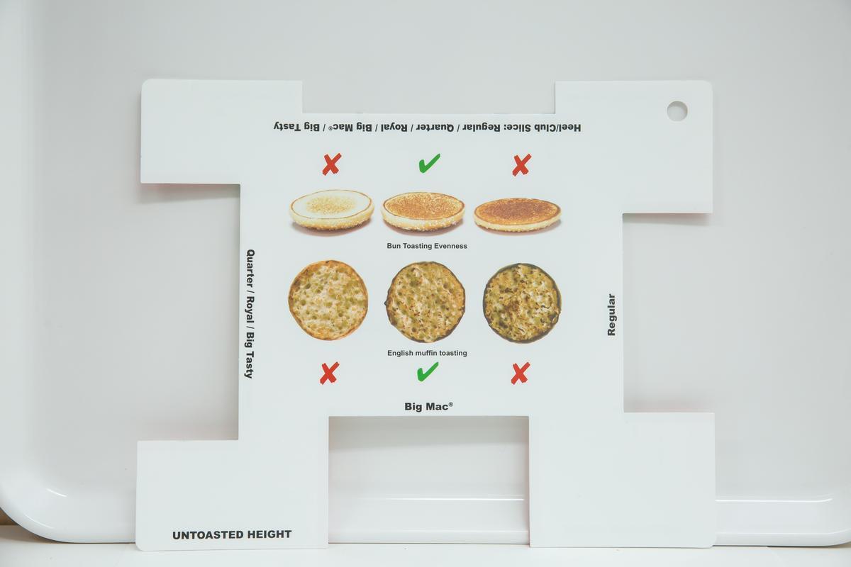 麵包齒翻到背面,能依據圖示馬上判定有沒有烤焦,不合的都不能送到消費者嘴裡。