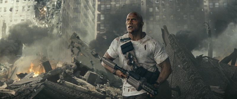 《毀滅大作戰》延續《加州大地震》的災難片風格,加上更多特效製造突變巨獸,讓大隻佬巨石強森遇上大隻猩。(華納兄弟)