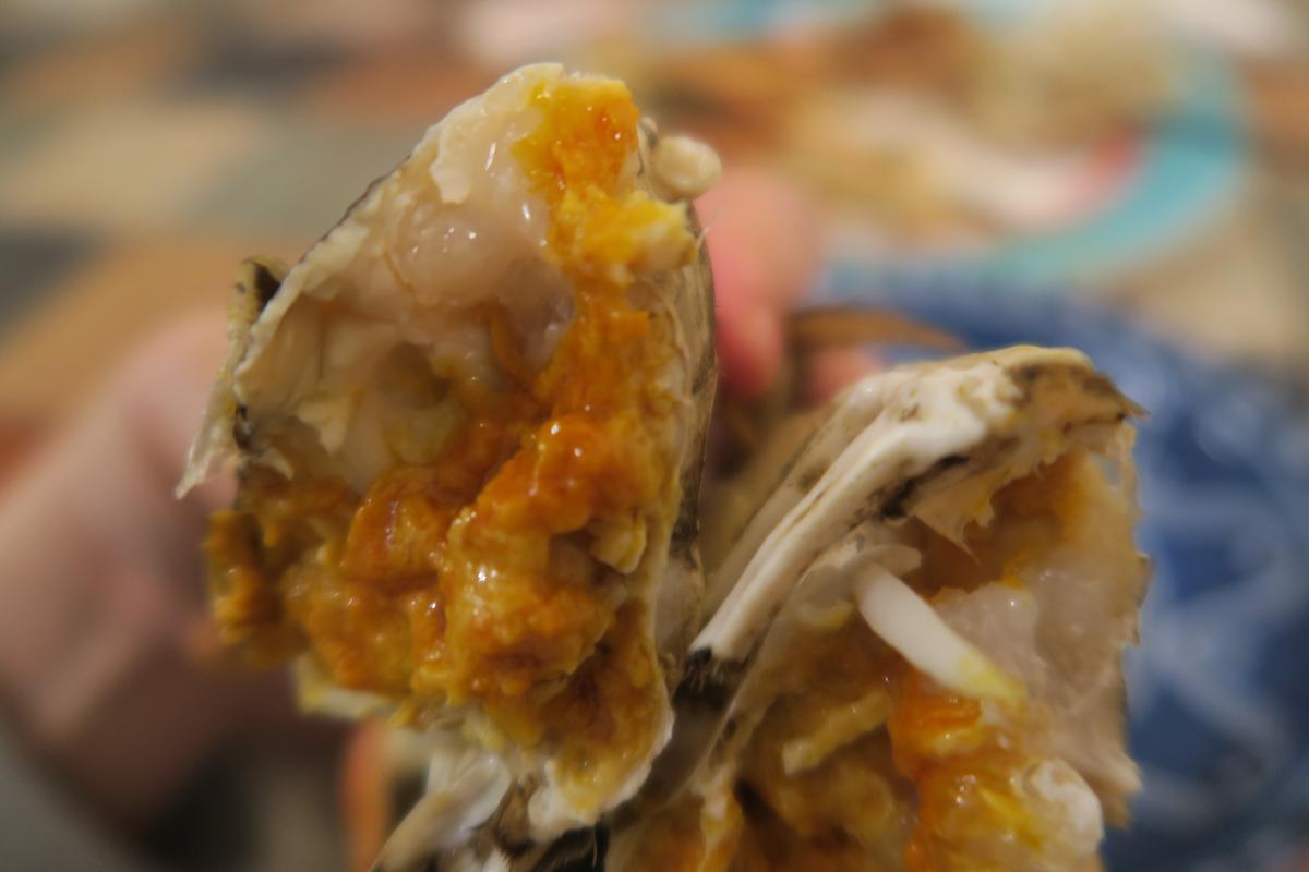 把第一隻蟹身掰成兩半,明顯可見白膏與蟹黃幾乎各占一半天下。