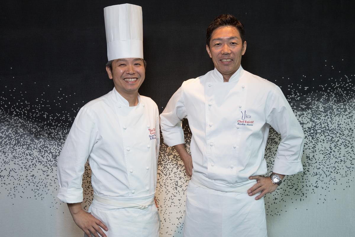 晶英國際行館行政主廚渡邊敦司(左)及UKAI集團總料理長笹野雄一郎(右),跨海來台呈現UKAI料理的魅力。