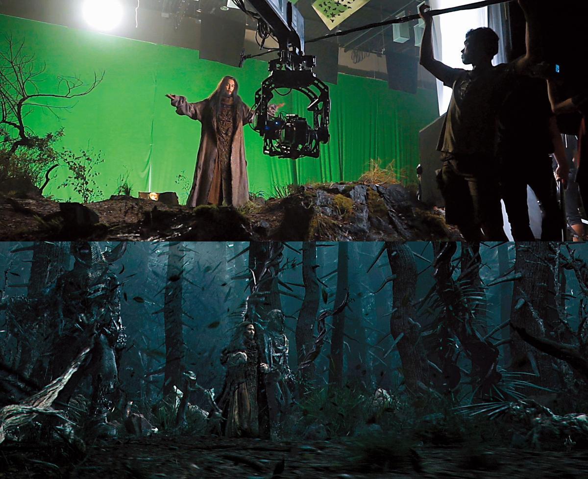 演員李政宰先在綠幕前演戲(上圖), 再用電腦打造出更自然的背景與 更立體的空間感(下圖)。