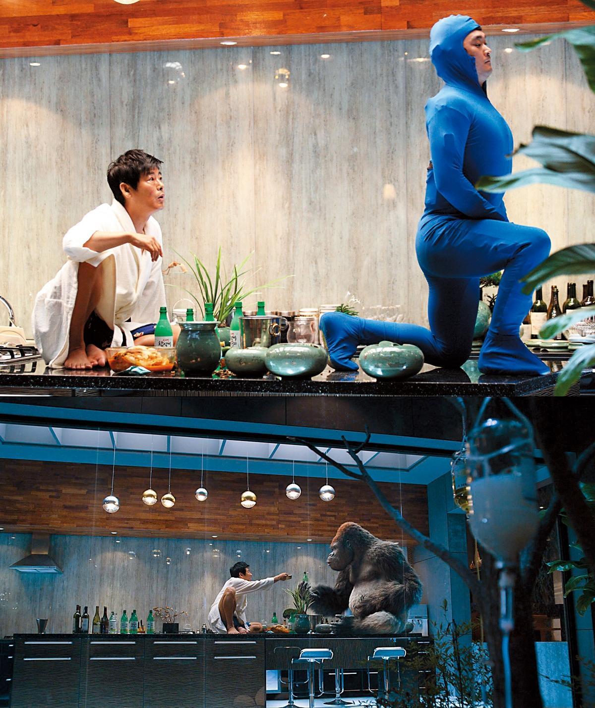 《王牌巨猩》使用的「Zelos Fur」軟體,創造出猩猩的三百八十萬根毛髮,經過CG特效後呈現猩猩與演員成東鎰(左)自然對戲的效果。(翻攝自Daum Movie)