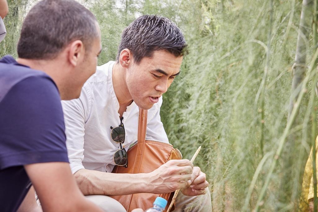 佐藤秀明對「心益安」的白蘆筍印象深刻,也用在這次餐會菜色。(態芮提供)