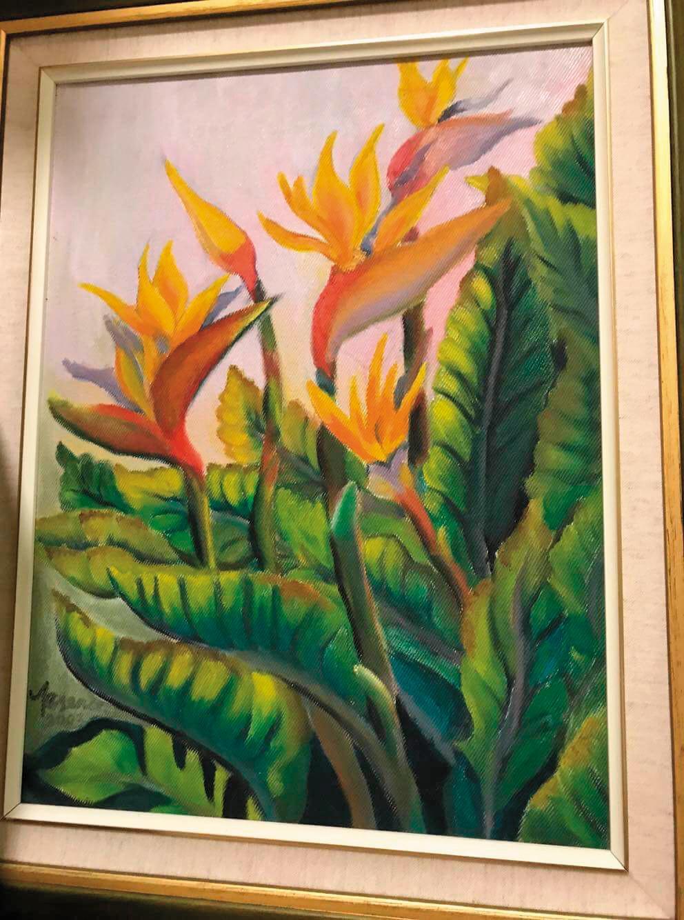 除了組盆栽,王董也愛畫畫,這幅天堂鳥就栩栩如生。
