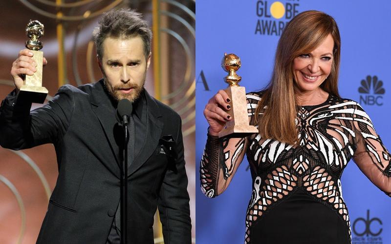 《意外》的媽寶警官山姆洛克威爾(左)擊敗賽前先被看好的威廉達佛,獲得金球獎最佳男配角獎。女配角由《老娘叫譚雅》的艾莉森珍妮(右)奪得,艾莉森是電視界資深女星,這次「跨界」獲得電影類獎項。(東方IC)