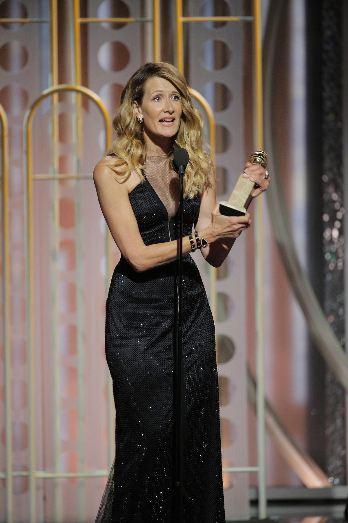蘿拉鄧恩憑《美麗心計》拿下「最佳迷你影集與電視電影女配角」。(東方IC)
