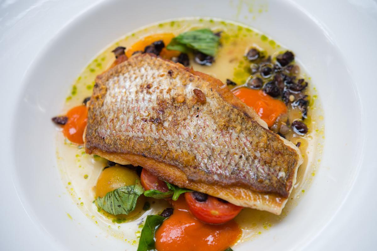 「炙烤鯛魚佐時蔬」以純種番茄引出豐盈滋味,是餐館招牌料理。(紐幣37元/份,約NT$781)