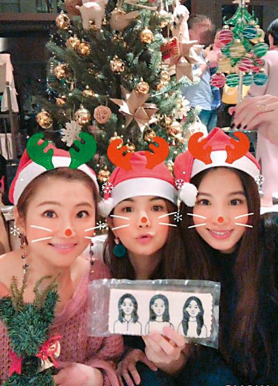 S.H.E感情融洽,耶誕節還在Ella家中一起吃飯喝酒共度。(翻攝自Selina臉書)