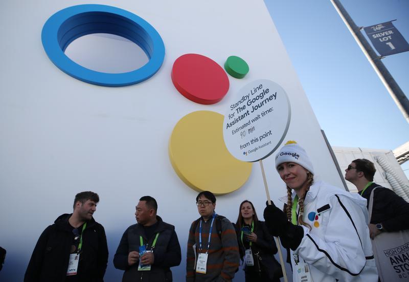 美國拉斯維加斯2018消費性電子產品展(CES)民眾排隊準備進入谷歌展示場谷歌助理遊樂場(東方IC)