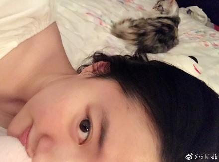 劉亦菲前日微博發文,素顏入鏡,不知情傷是否已復原。(翻攝劉亦菲微博)