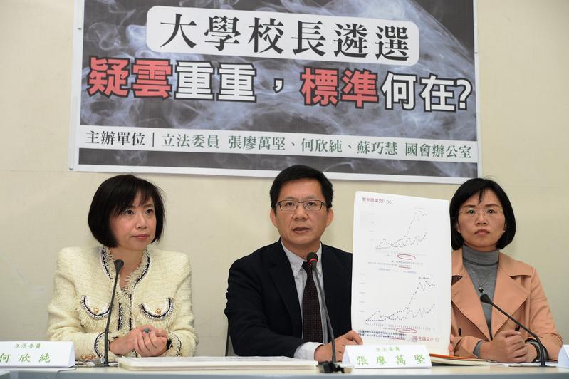 民進黨立委張廖萬堅(中)指控台大校長當選人管中閔發表的論文涉嫌抄襲,但被發現是烏龍一場。