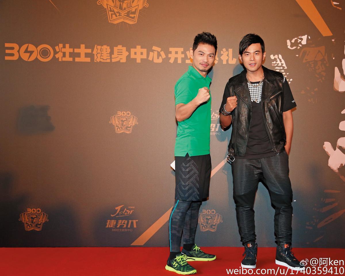 「300壯士」在上海展店,當時還有阿Ken(左)跟周董(右)站台,已不見劉畊宏。(翻攝自阿KEN微博)