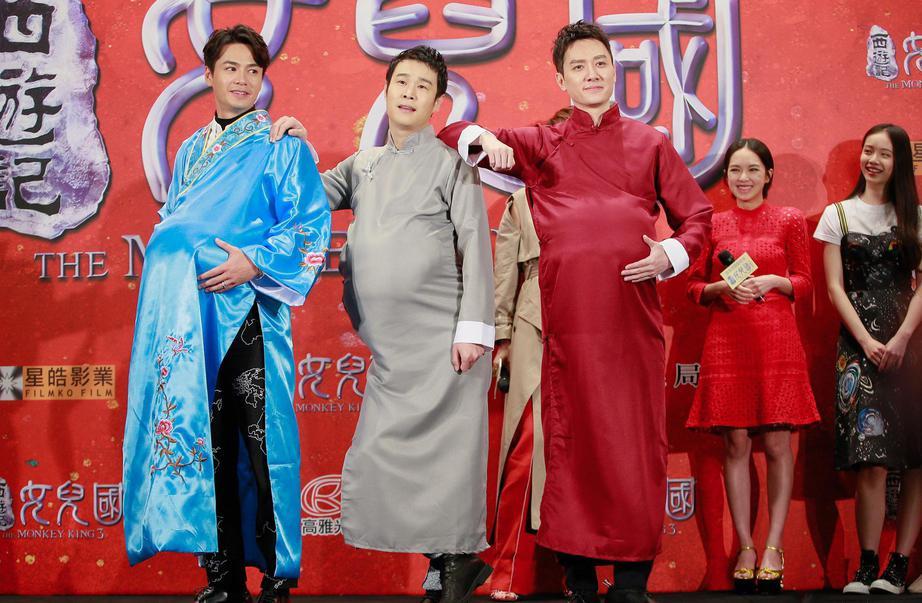 唐僧師徒馮紹峰(右起)、小沈陽、羅仲謙搞笑扮起孕婦,體會女人心情。(海樂提供)