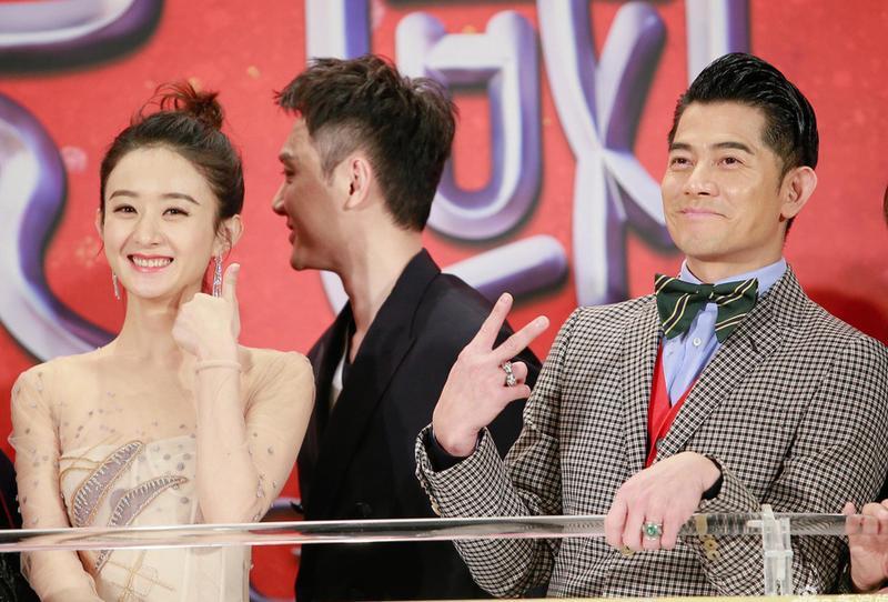 賀歲片《西遊記女兒國》在香港舉行首映,傳出密戀的馮紹峰與趙麗穎台上零互動,郭富城卻還要補刀兩人緋聞。(海樂提供)