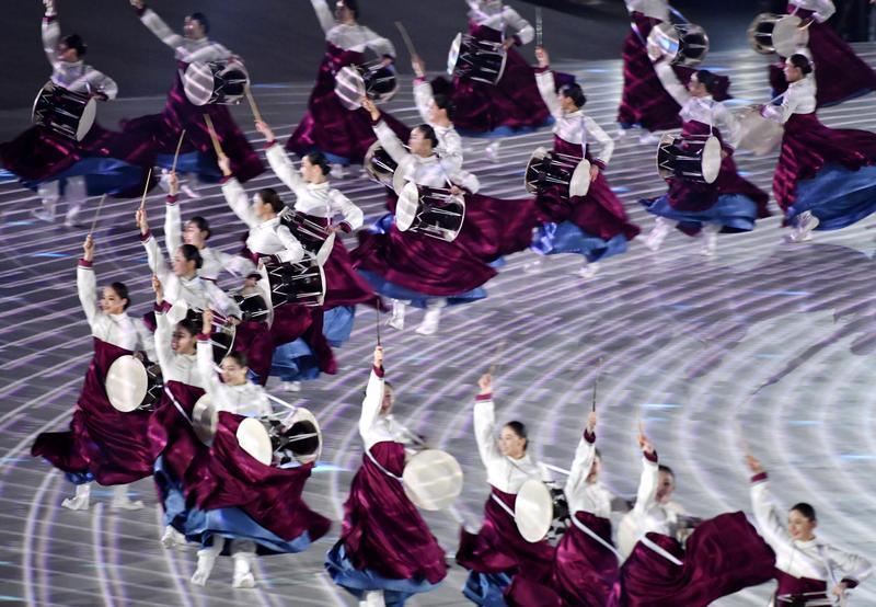 2018年2月9日,南韓平昌冬季奧運的開幕表演活動。(東方IC)