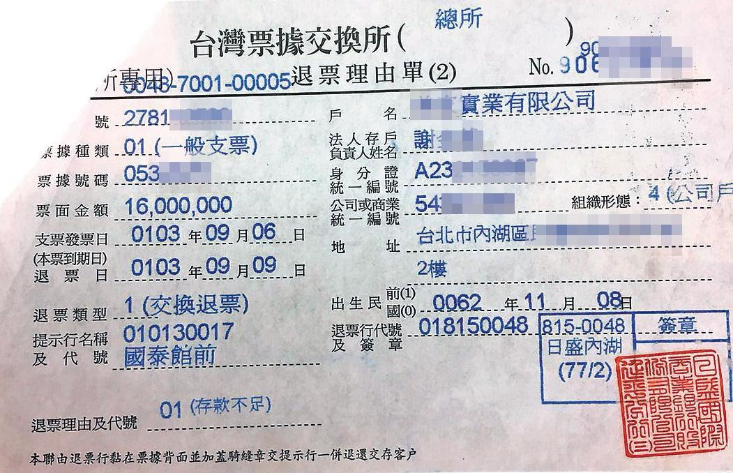 黃進春拿去抵債的1,600萬元支票,最後跳票。(讀者提供)
