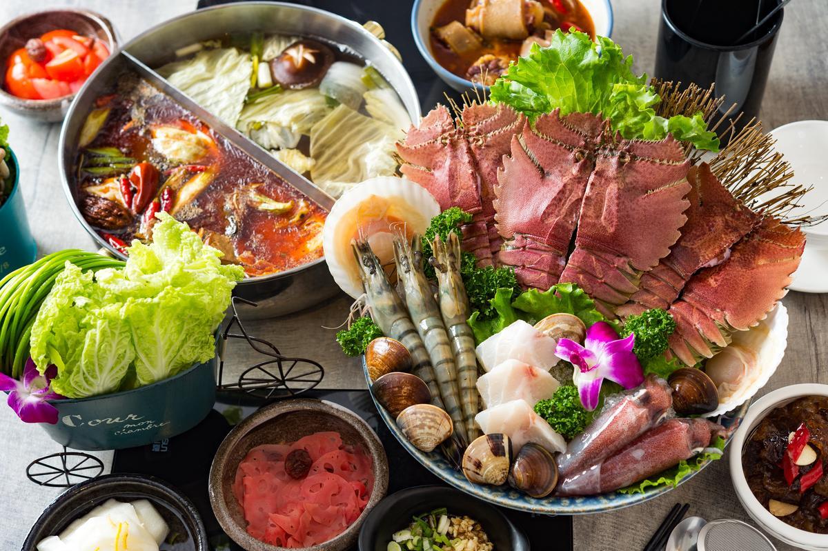 「超值海鮮盤」有蝦蛄、草蝦、龍膽石斑、東北小卷、蛤蜊、扇貝。(999元/份)