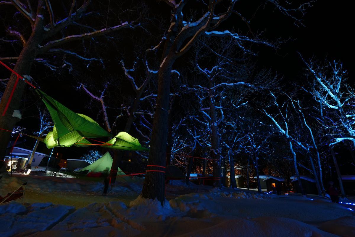 掛在兩樹之間的新型帳篷,遊客可以親身體驗。