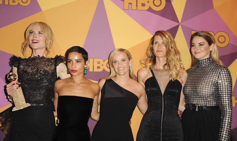 今年金球獎典禮上,妮可基嫚、瑞絲薇絲朋等大明星都以黑色裝扮表達反性騷訴求。(東方IC)