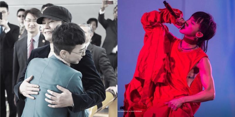 BIGBANG隊長G-Dragon將於明(27日)入伍,YG社長梁鉉錫貼出兩人擁抱照片,還交待他「要健康平安歸來」。(左圖翻攝梁鉉錫ig,右圖翻攝G-Dragon臉書)