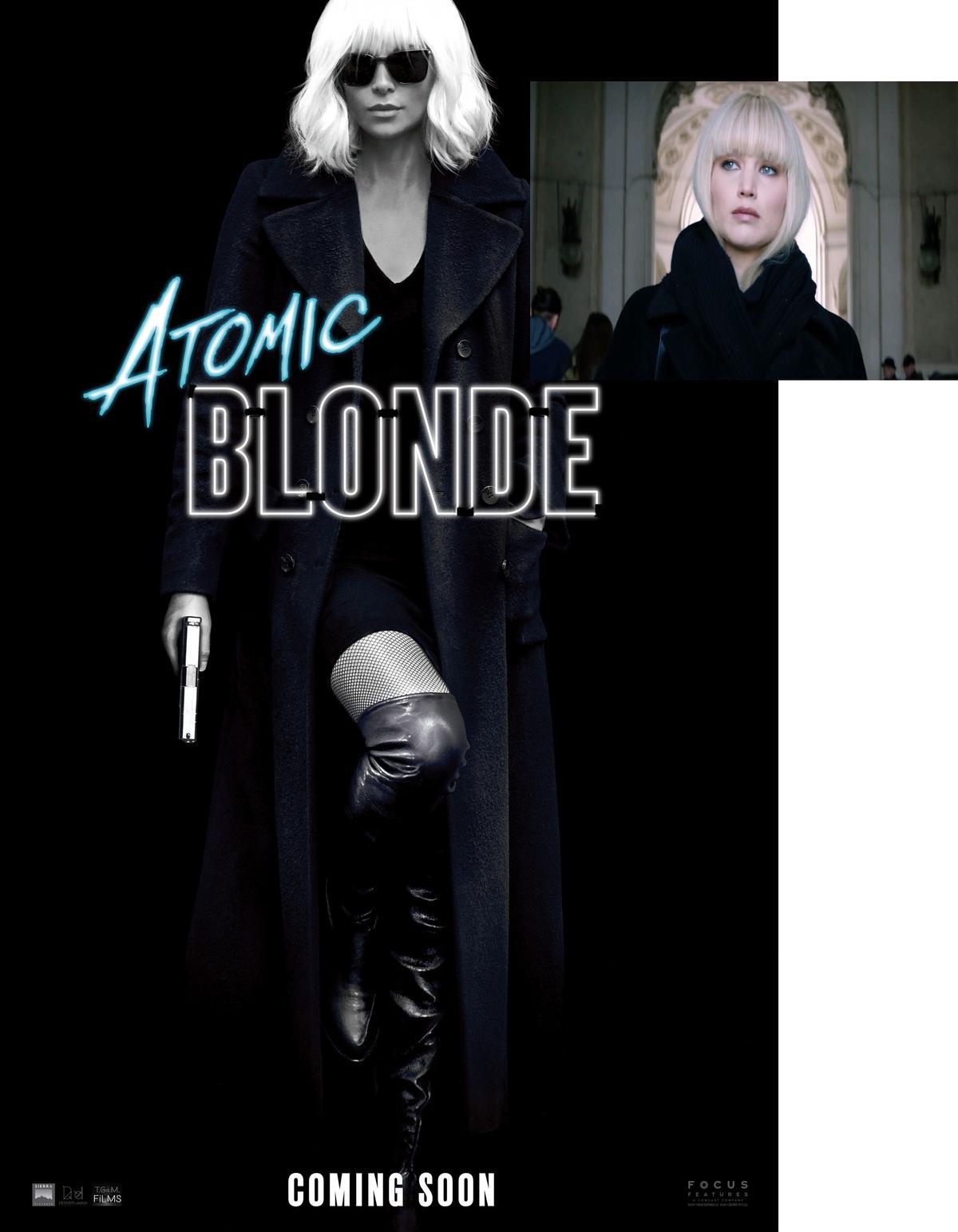 小珍妮佛白金髮、風衣的造型,與莎莉賽隆在《極凍之城》裡也非常相似。