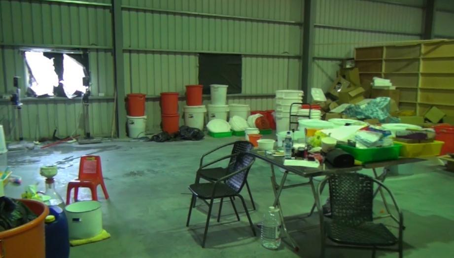 工廠隱身在彰化鄉下,製造1.7噸K他命毒品。(高市調查站提供)