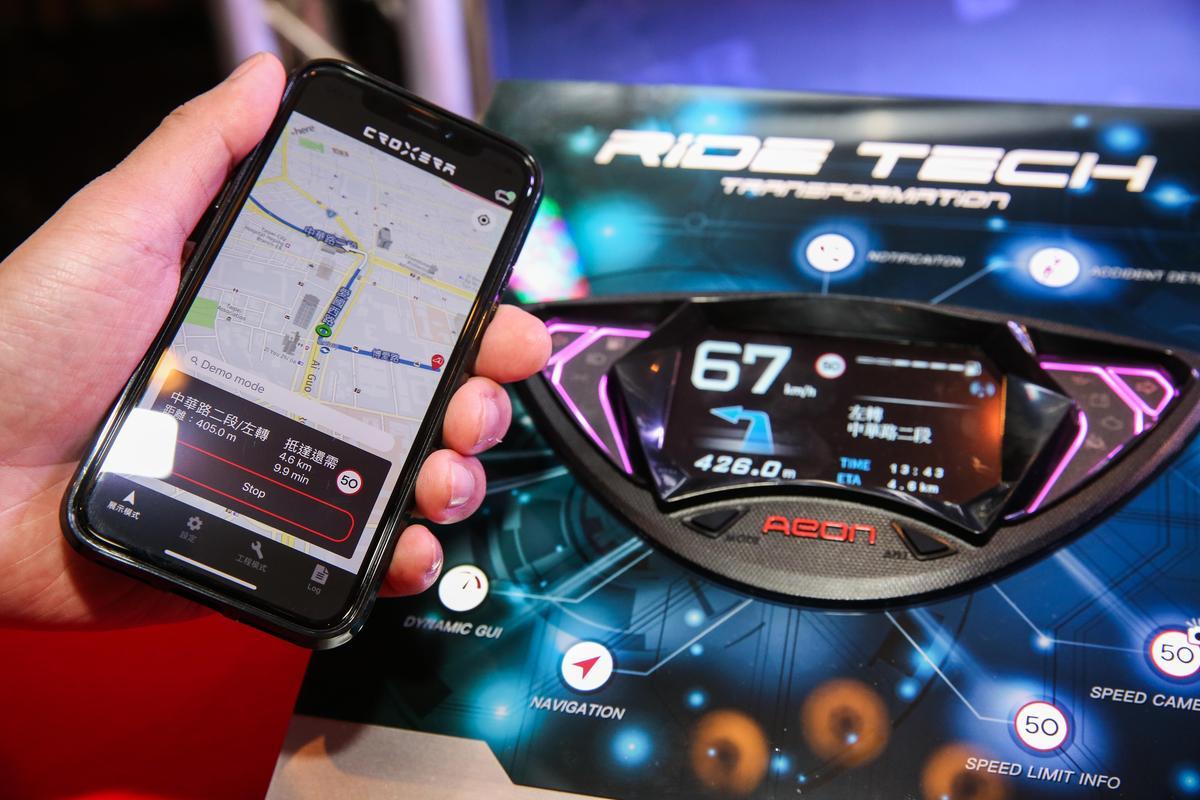 宏佳騰在美國美國拉斯維加斯CES(消費性電子展)中發表的全世界第一款整合型智慧儀表系統CROXERA,有導航、有超速的測速照相機通知,以及事故偵測系統。