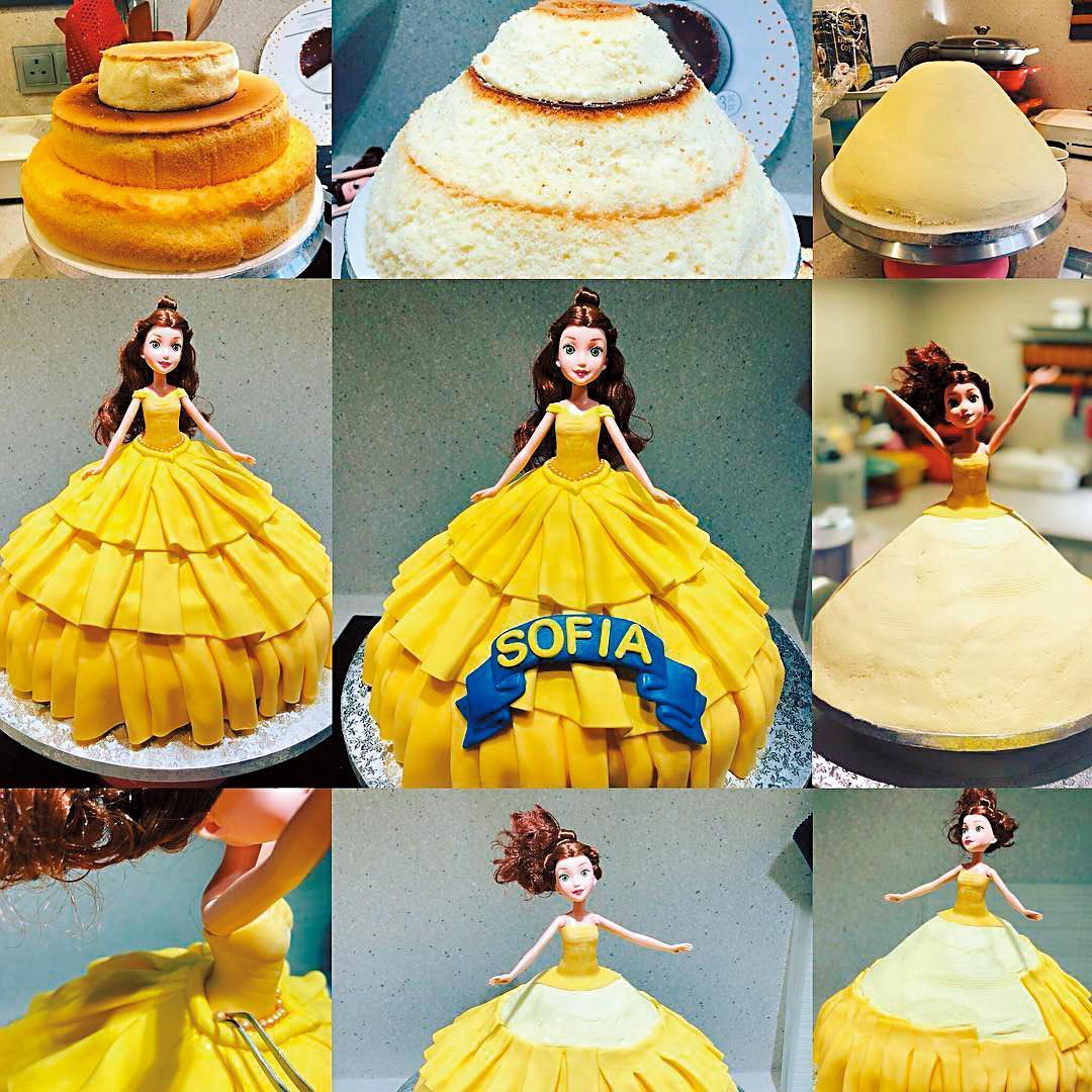 女兒Sofia愛吃甜食,梁詠琪特別跑去上烘焙課,第一次做公主翻糖蛋糕,女兒看到開心大叫。(翻攝自梁詠琪IG)