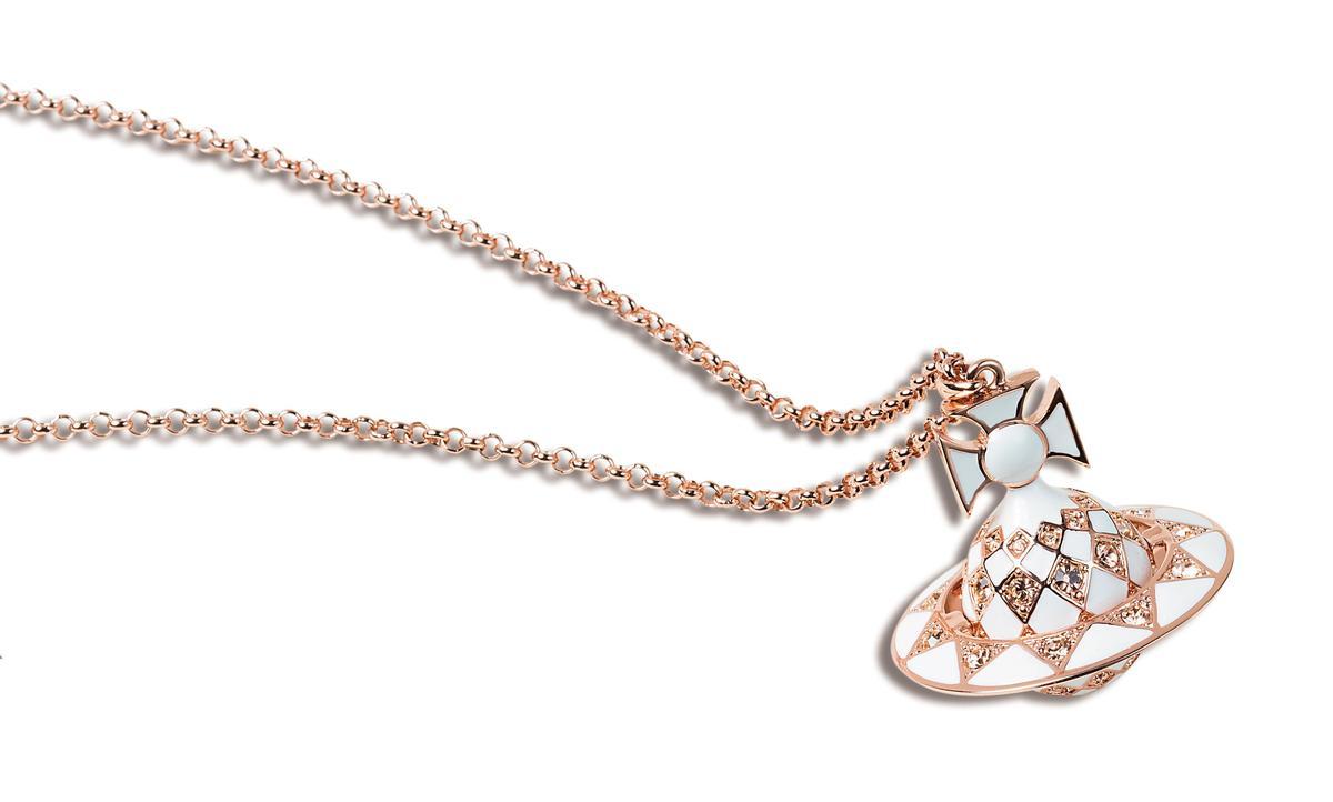 Vivienne Westwood白琺瑯立體logo項鍊,NT$10,400。