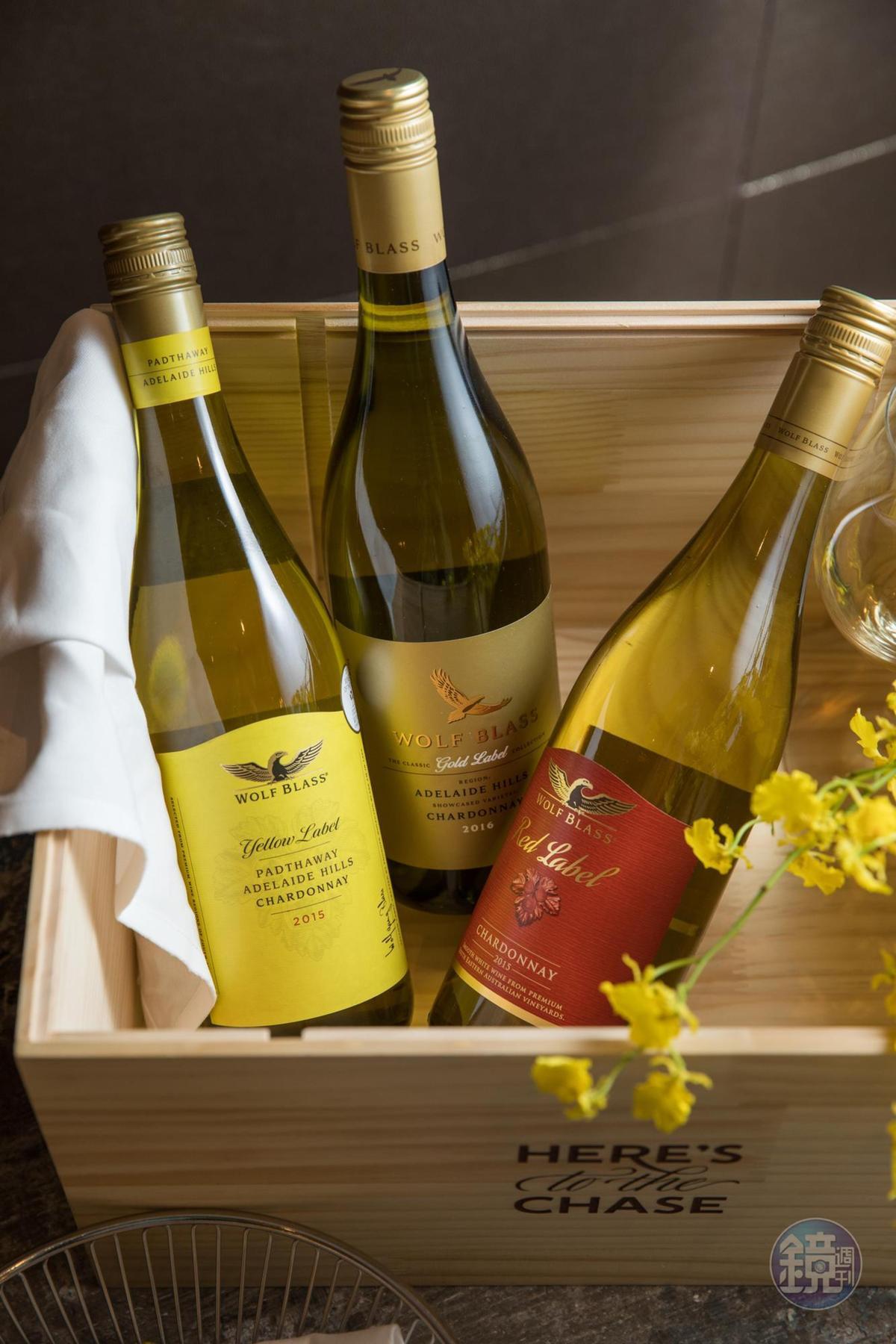 禾富的白酒產品線也很完整,同樣是夏多內,黃標口感柔和,金標果香馥郁,紅標明亮清新。(左起,650元、1,500元、550元/瓶)