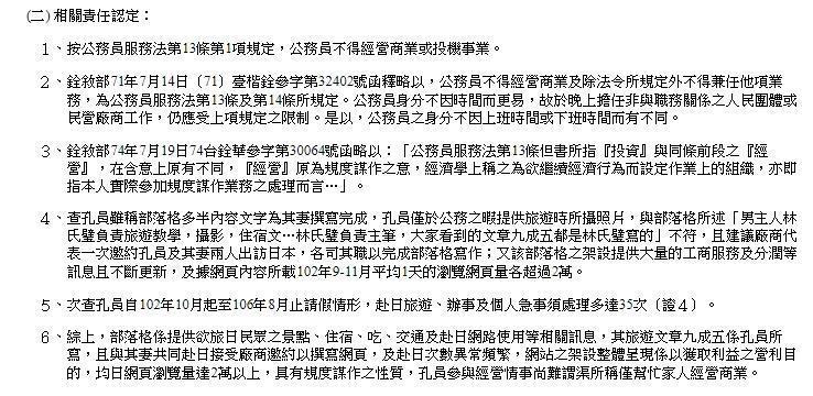 公報上明指出林氏壁違反公務員服務法第13條第1項規定。(翻攝自行政院公報網頁)
