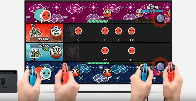 Switch版《太鼓達人》,把遊戲手把變鼓棒。(圖:翻攝自Nintendo Direct)