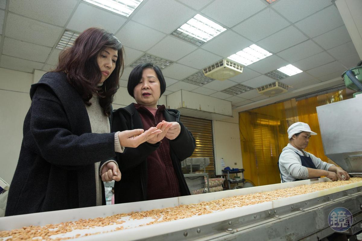 替光泉、桂格飲品代工的吉羊食品行,幫獅伯生產特殊尺寸花生粒。